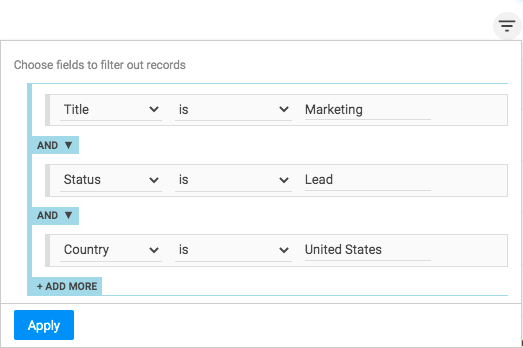Filtering in NetHunt CRM