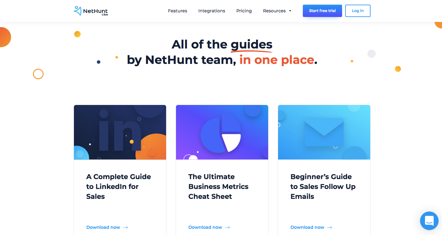 NetHunt's landing page for guides and ebooks on sales and marketing