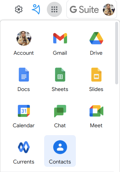 Where to find Google Contacts