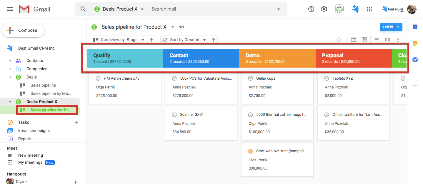 Pipeline stages in NetHunt CRM