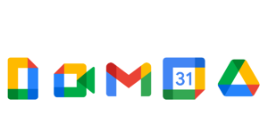Docs, Meet, Gmail, Calendar, and Drive (left to right).