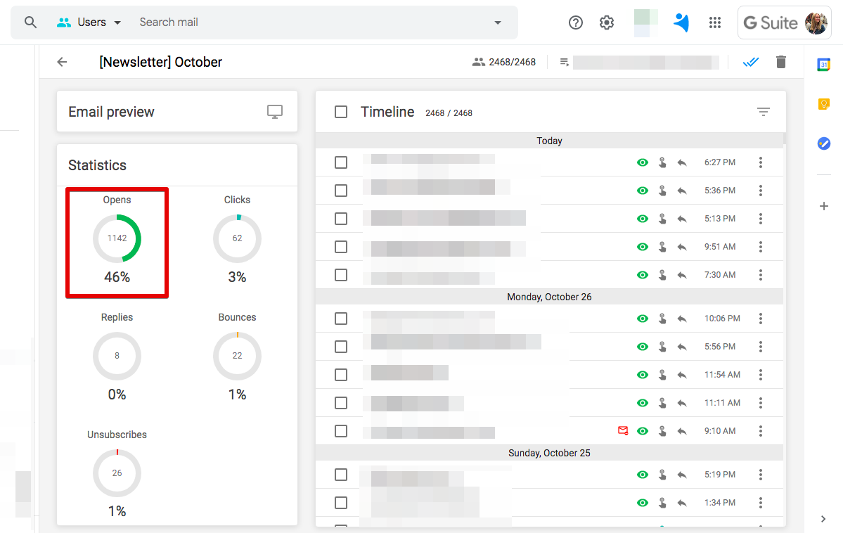 Open tracking in NetHunt CRM