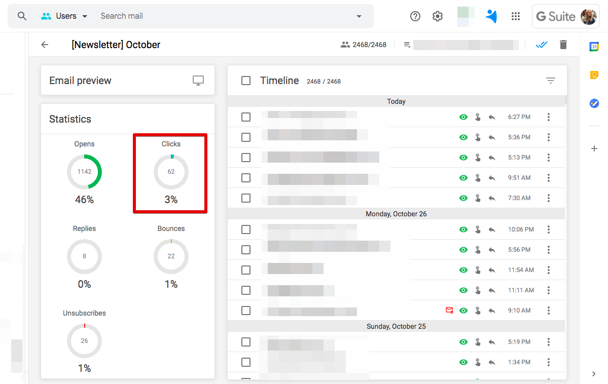 Click tracking in NetHunt CRM
