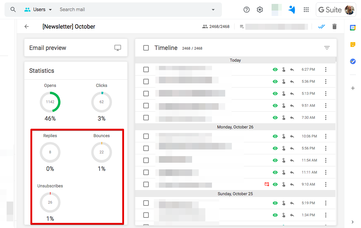 Response, bounce and unsubscribes tracking in NetHunt CRM
