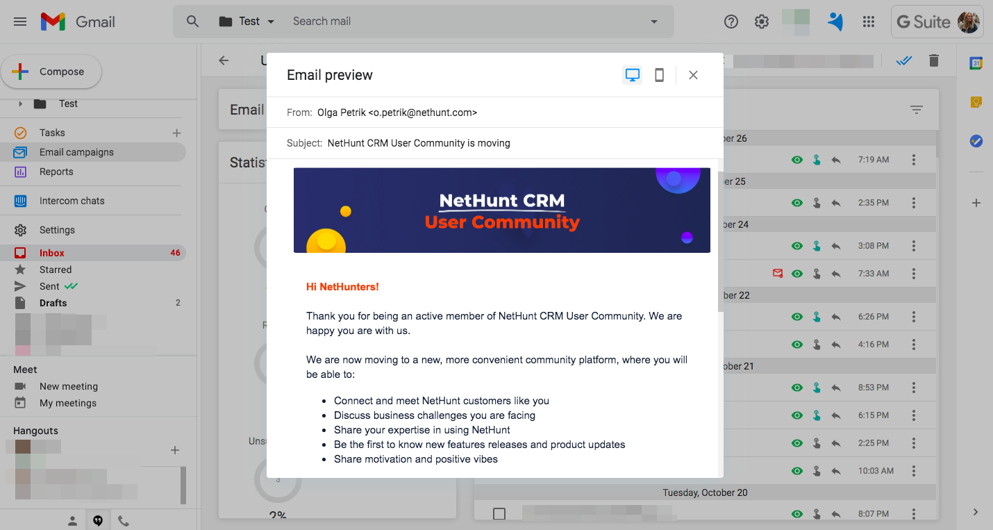 Email campaigns in NetHunt - CRM in Gmail