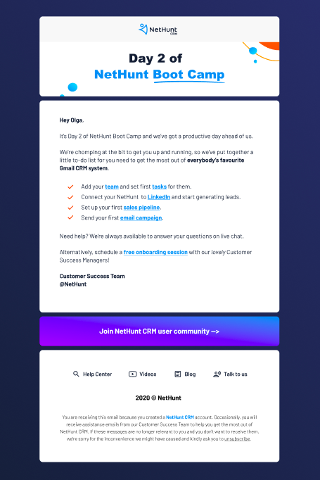NetHunt CRM on-boarding email