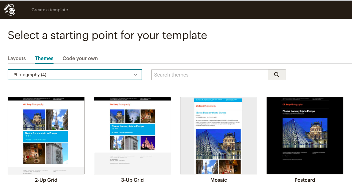 Mailchimp email template themes