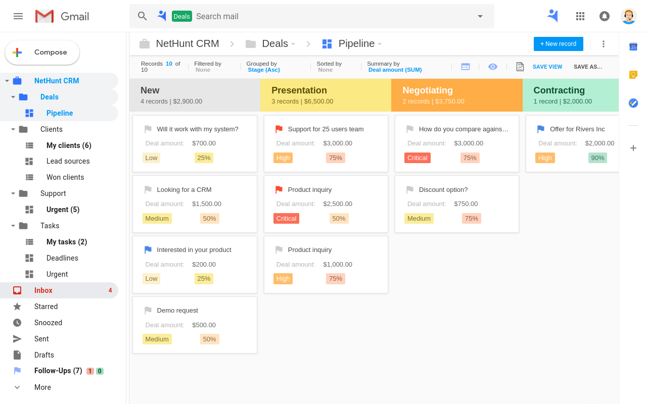 CRM pipeline in Gmail