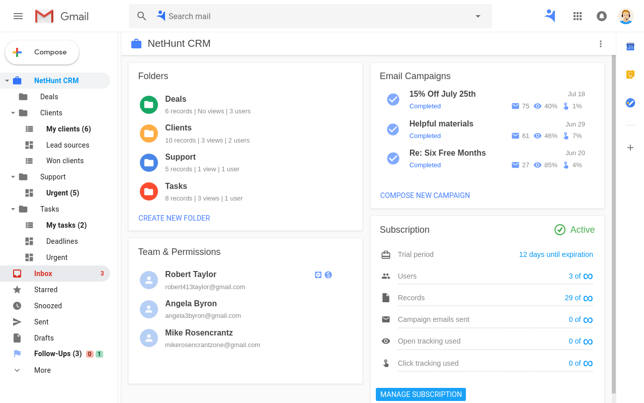 NetHunt CRM dashboard in Gmail