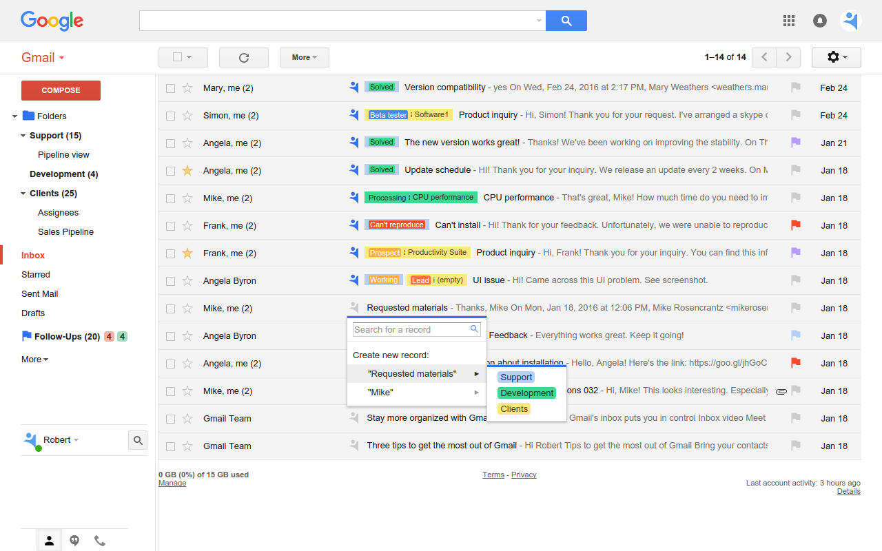 Gmail Inbox with NetHunt CRM