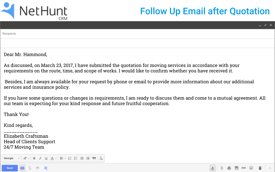 How to write a follow up email to client after quotation nethunt crm follow up emait after quotation altavistaventures Gallery