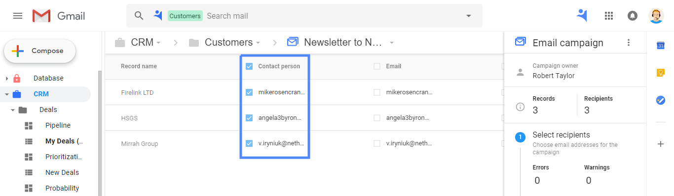 Recipients auto-selection in NetHunt CRM Email Campaigns