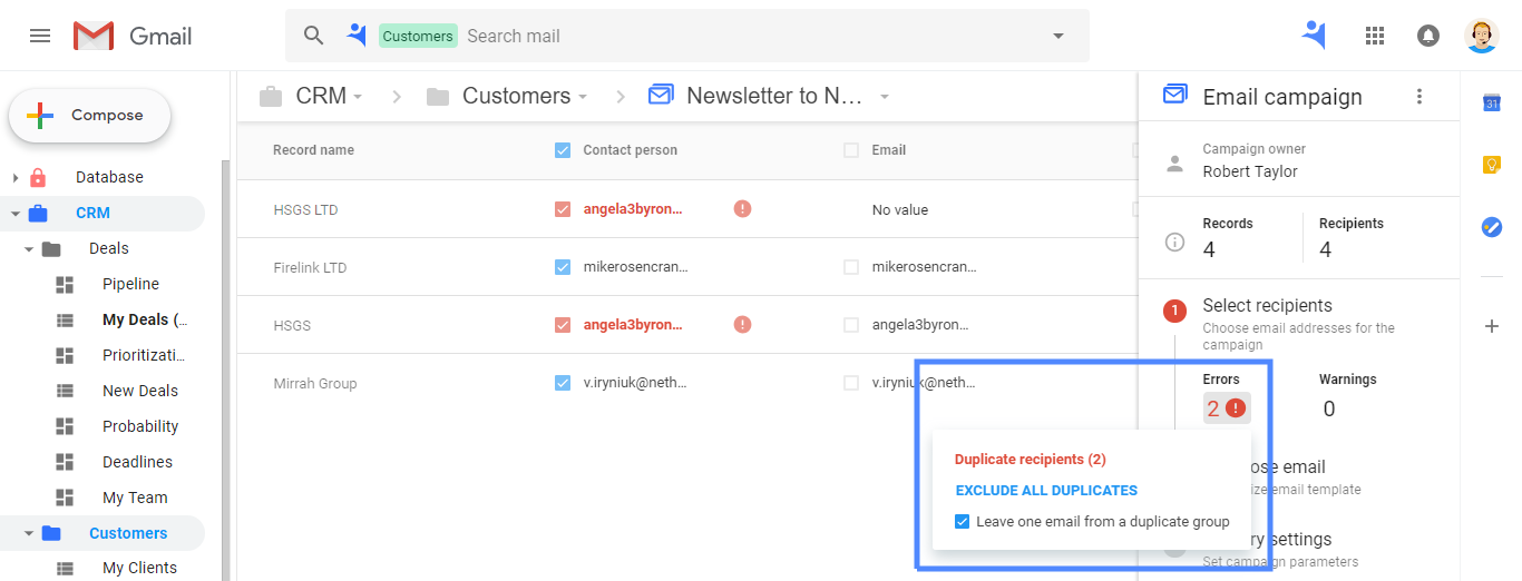 Duplicates prevention in NetHunt CRM Email Campaigns