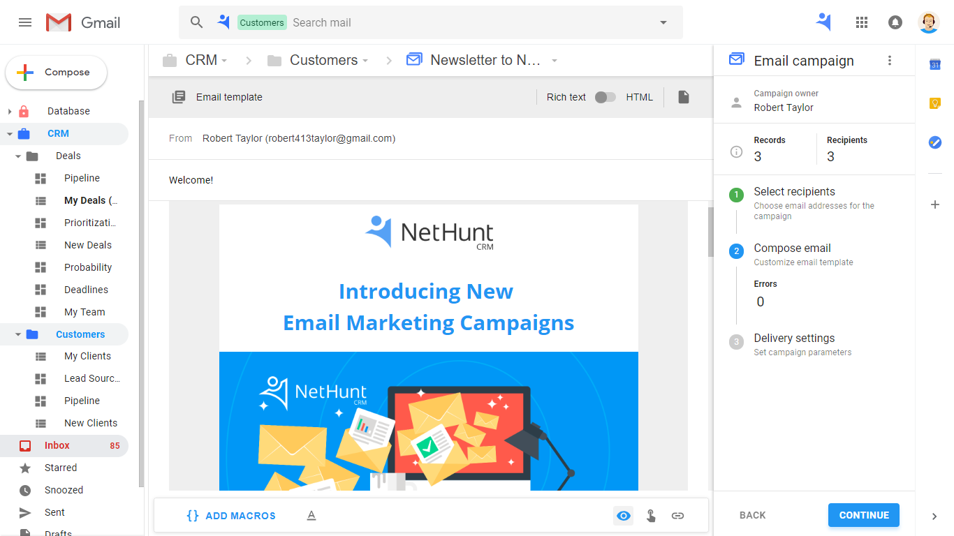 HTML templates support for newsletters in NetHunt CRM Email Campaigns