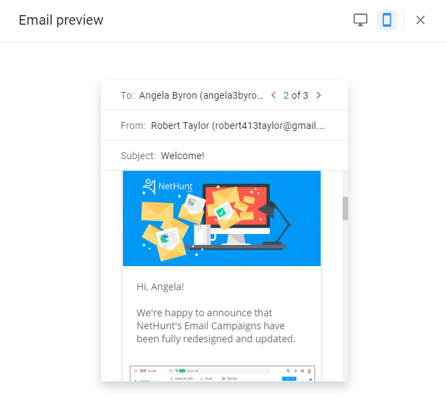 Email preview in NetHunt CRM Email Campaigns