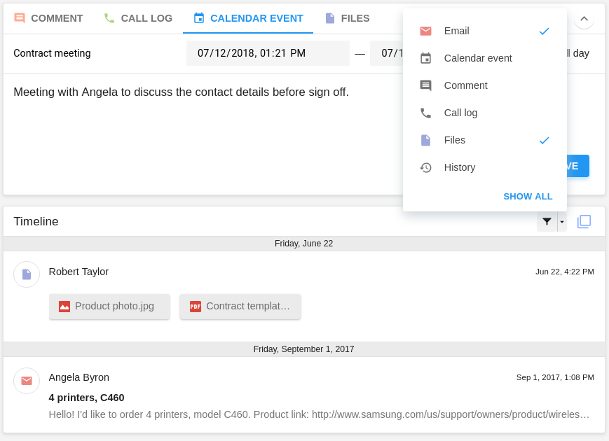 Events filtering in the NetHunt CRM Timeline