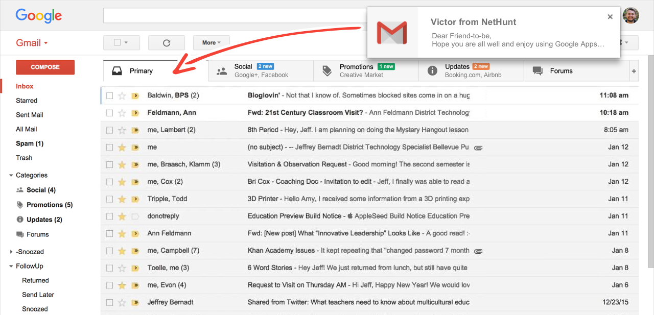 Emails sent with NetHunt CRM End Up in the Primary Inbox
