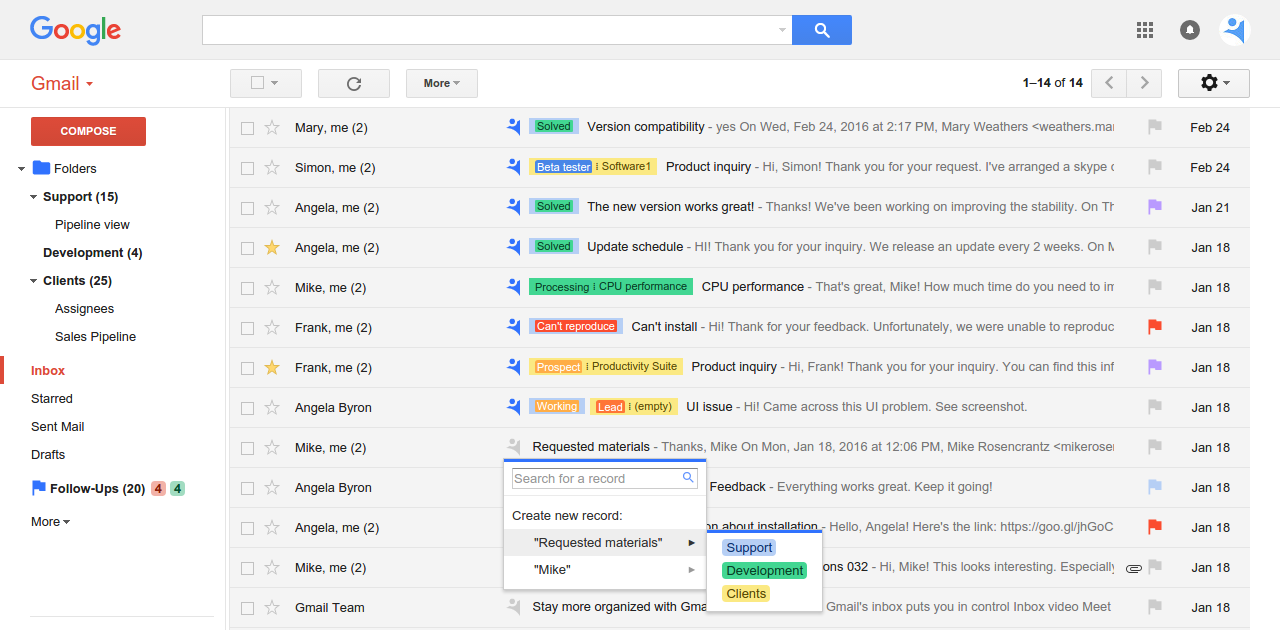 Inbox with NetHunt CRM