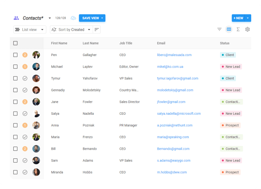 screen of Google Contacts